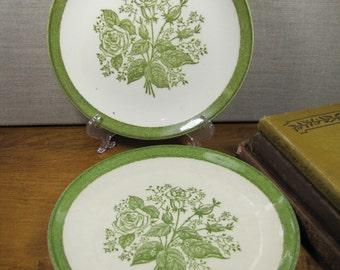 Green Transferware Rose Dessert Plates - Set of Two (2)