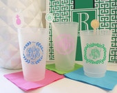 Fancy Monongrammed Custom Design Personalized Frosted Cups • Weddings • Family Reunions • Beach Vacations • Graduation • Party Cups