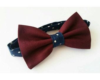 Burgundy bowtie / polka dot bowtie / navy bowtie / wedding bowtie / groomsmen bow ties / mens bowties / boys bowtie / wine bowtie/ maroon