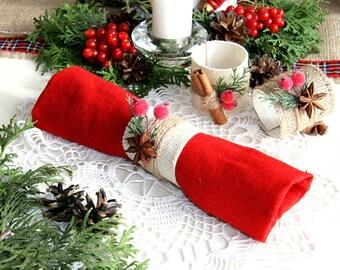 Christmas Napkin Ring, Winter Napkin Ring, Christmas table decor, Christmas decor, Burlap Christmas Napkin Ring, Rustic christmas
