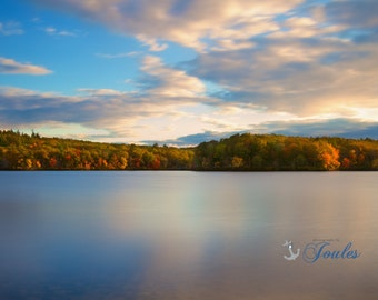 Autumn Light ~ Ponaganset Reservoir, Rhode Island, Autumn, Photography, Fall Foliage, New England Artwork, Wall Art, Earth Tones, Home Decor