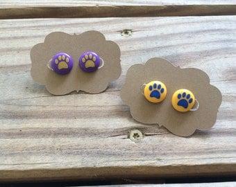 Custom/Personalized Vinyl Paw Print Perler Bead Earrings- Biggie Bead Earrings-Tigers-Pride-School Spirit-Jewelry-Girly-Bright