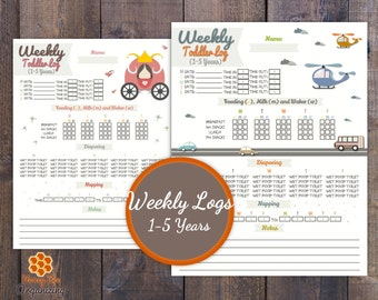 Weekly Daycare Logs  - Baby Logs 0-6 Months - Baby Logs 5-12 Months - Toddler Logs 1-5 Years - Nanny Log - Daycare Log 0-5 Years