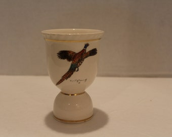 China Large Egg Cup, Pheasant, Porcelain, Double sided, Cream, Bird (C194)