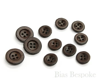 Simple Dark Brown Leather 4 Hole Buttons, Made in Italy