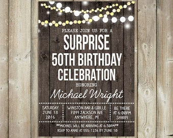 RUSTIC SURPRISE BIRTHDAY Invitation - Adult Birthday Party  - 20th, 30th, 40th, 50th, 60th, 70th, 80th Bday Invite - String Lights- Digital