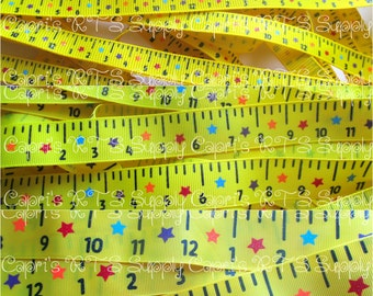 """3/8"""" 7/8"""" Back To School Rulers Primary Colors Daffodil Yellow Rule The School US Designer Grosgrain Ribbon"""