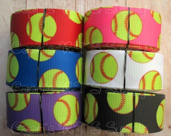 "7/8"" Softballs Grosgrain Ribbon - Red, Hot Pink, Royal Blue, White, Purple, Black"