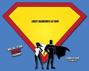 Superhero Couple Wedding Guestbook Print