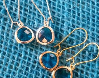 Rhinestone earrings; birthstone earrings; dangle earrings; blue rhinestone earrings; drop stone earrings