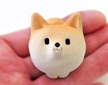 "Shiba Inu figurine of Ceramics ""A osuwari quite small shiba "" Shiba is Japanese dog.  柴犬置物 by 工房しろ"