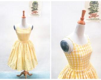 "Penelope Dress ""Lemonade Stand"" in Yellow Checkered Gingham Print"