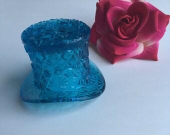Vintage Blue Glass Top Hat / Glass Top Hat / Top Hat Toothpick Holder / Blue Tophat / Top Hat Knick Knack