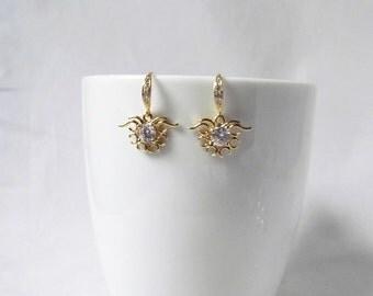 sun earrings, CZ earrings, gold earrings, wedding earrings,bridal earrings, cubic zirconia earrings, bridesmaids gift, prom earrings
