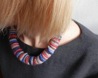 Felt bib necklace Blue felt necklace Grey red necklace Wool necklace Statement felt necklace Boho chic jewelry Unusual jewelry