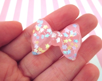 Pink Fairy Kei Glitter Bow Cabochons, Pick Your Amount, #349