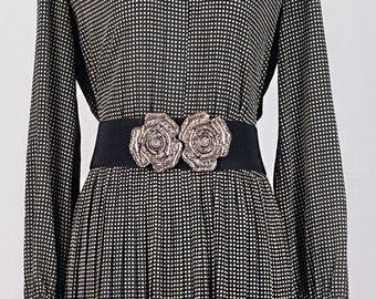Vintage dress   Long dress   Japanese vintage   1970s dress   Striped dress   Checkered dress   Grey dress   Pleated dress   Winter dress