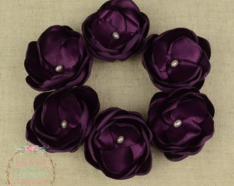 "Aubergine Eggplant Purple Satin Freshwater Set Of SIX small 1.5"" Hair Flower Clips"