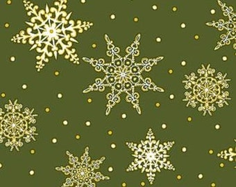 Jolly Old St. Nick Green Snowflake by the yard