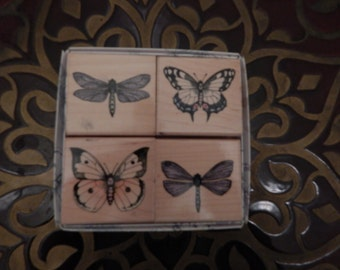 Rubber Stamp Set Butterfly Dragonfly