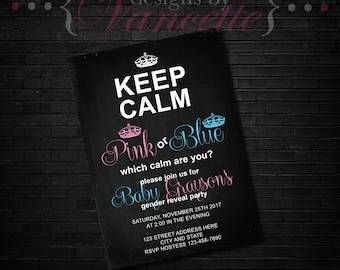 Keep Calm Gender Reveal, Keep Calm Gender Reveal Invite, Keep Calm Gender Reveal Party, Keep Calm Invite, Keep Calm Invitation