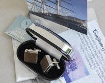 Cutty Sark  Original Wood Cufflinks set in Sterling Silver