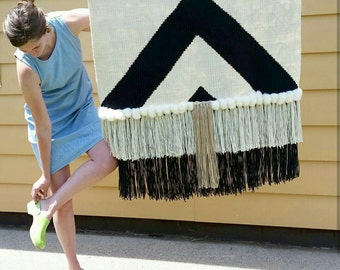 """Large Wall hanging, Weaving, Woven Wall Hanging, Statement piece, Black and White, """" XL Bohem"""""""