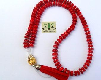 Japa Mala Red Coral Rondel And Buddha