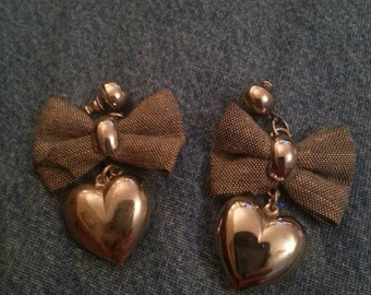 Vintage Silver Tone Dangle Heart Earrings