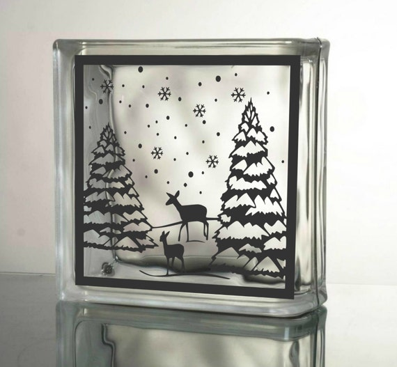 Winter Deer Silhouette Vinyl Decal Glass Block By Granddsigns