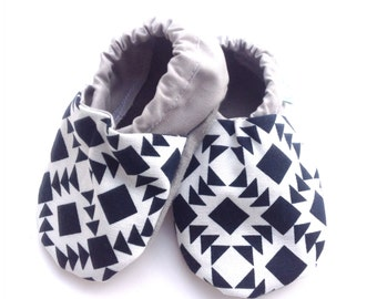 Navy Blue Aztec Baby Shoes