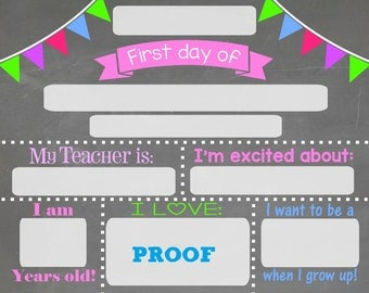 School days frame etsy for First day of school sign template