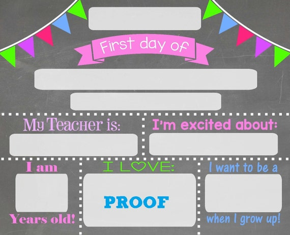 First day of school chalkboard sign chalkboard sign print for First day of school sign template
