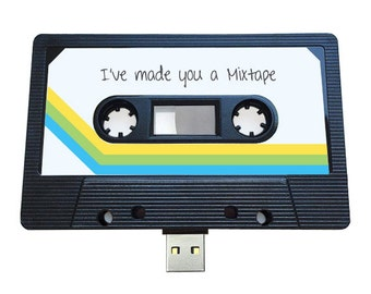 4GB/8GB/16GB USB Authentic Mixtape-Retro Personalized-  Quirky Gift - Music Lovers, Present, Boyfriend, Girlfriend, 90s, Flash Drive