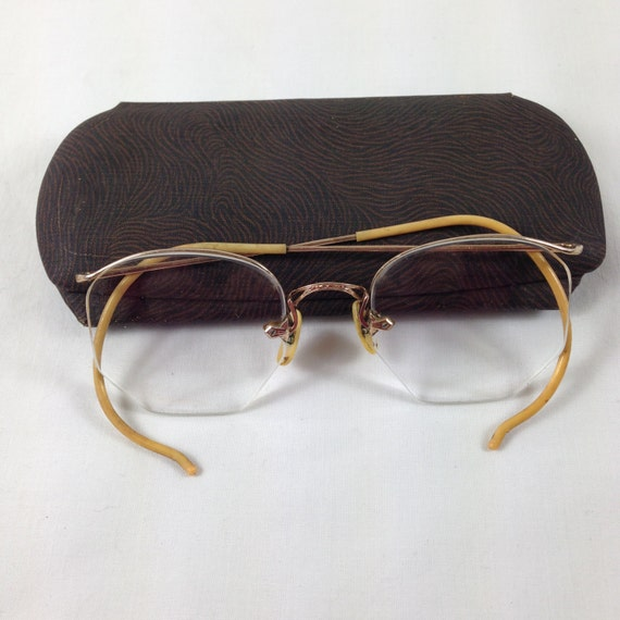 vintage antique bausch and lomb rimless gold filled eyeglasses