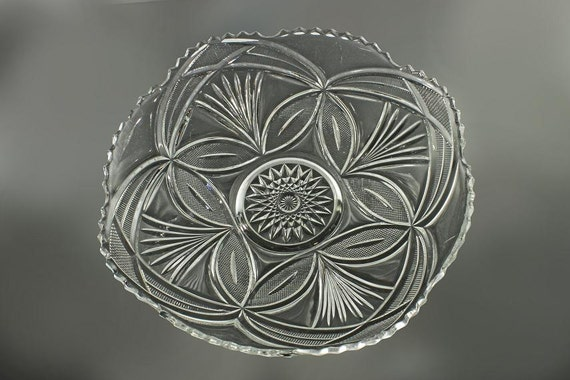 EAPG Bowl, Sawtooth Edged, Clear Glass, Pressed Glass, Fruit Bowl, Centerpiece