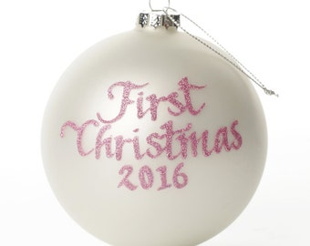 My First Christmas Girl Pearl Personalised Christmas Bauble
