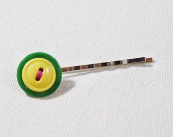 Green and yellow hair pin, green button bobby pin, vintage button hair pins, lemon lime, neon pink, button jewelry
