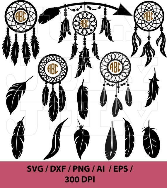 Dream Catcher Svg Monogram Feather svg Indian svg