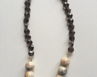 Agate and Crystal Necklace Handmade