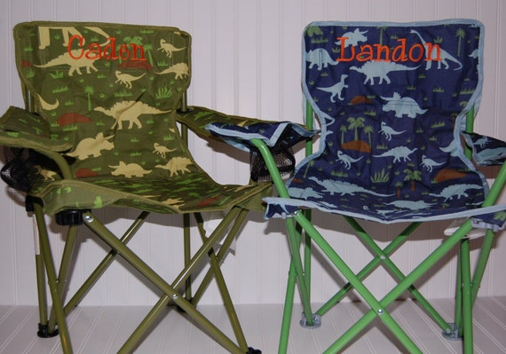 Personalized Boys Toddler Folding Camping Chair Dinosaur
