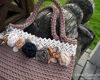 Knitted Bag/ Rope Bag/ Handmade Bag/ Crochet Bag/ Unique bag/ Beach Bag/ Summer Handbag/ Market Bags/ Gift for wife / Summer bag/Brown bag