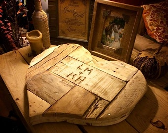 Re-claimed Wood Rustic Heart (personalized)