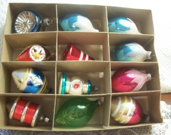 Twelve Assorted Shiny Brite/Poland Christmas Ornaments