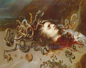 "Peter Rubens ""The Head of Medusa"" Snakes Greek Mythology 1618 Reproduction Digital Print Vintage Print Wall Hanging"