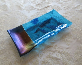 """Large Fused Glass Tray in Aqua and Ultramarine Glass with """"Fossil Vitra"""" Alaskan Yellow Cedar and Deer Fern Frond Accents"""