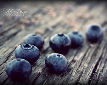 Blueberries, Greeting Card, Blank Inside, Fine Art Photography, Food, Kitchen Art, Home Decor