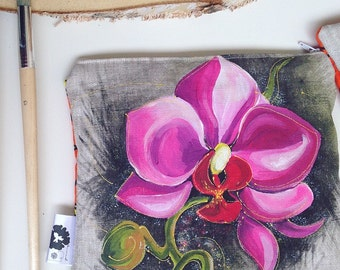 Hand painted clutch, Orchid, fuschia, Pocket hand-painted