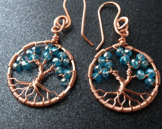 Aquamarine Tree-Of-Life Earrings Copper Earrings Copper Wire Jewelry March Birthstone Pisces Amulet Throat Chakra Inner Peace Family Tree
