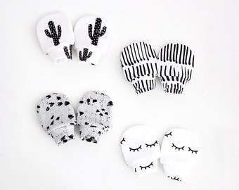 Monochrome organic cotton baby mittens, baby mittens, mittens, no scratch mittens